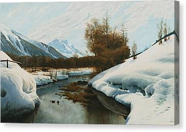 Near La Punt St Morritz In The Engadine Valley Canvas Print by Peder Monsted