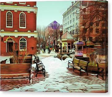 Near Quincy Market In Boston Canvas Print by Yury Malkov