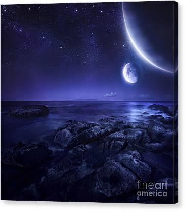 Nearby Planets Hover Over The Ocean Canvas Print by Evgeny Kuklev