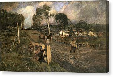 Nearing The Township Canvas Print by Walter Withers