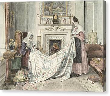 Patchwork Quilts Canvas Print - Nearly Done, Published 1898 by Walter Dendy Sadler