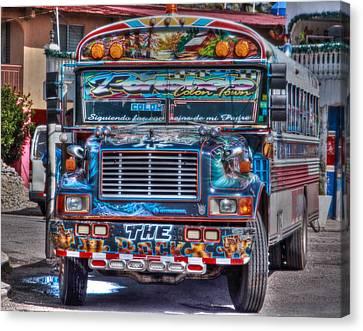 Neat Panamanian Graffiti Bus  Canvas Print