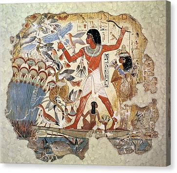 Nebamun Hunting In The Marshes With His Wife And Daughter, Part Of A Wall Painting Canvas Print