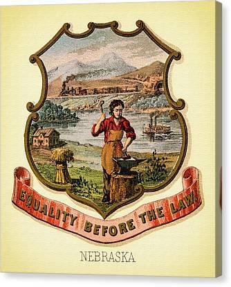 Nebraska Coat Of Arms -1876 Canvas Print by Mountain Dreams