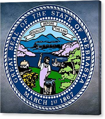 Mountain Cabin Canvas Print - Nebraska State Seal by Movie Poster Prints