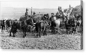 Canvas Print featuring the photograph Nebraska Threshing, 1886 by Granger