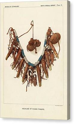 Colonial Man Canvas Print - Necklace Of Human Fingers by Art And Picture Collection/new York Public Library