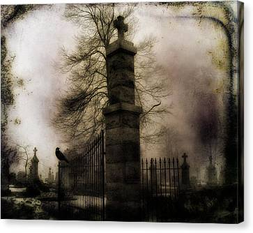 Necropolis Gate And Crow Canvas Print by Gothicrow Images