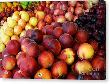 Canvas Print featuring the photograph Nectarines At Rest by Vinnie Oakes