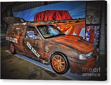 Ned Kelly's Car At Ayers Rock Canvas Print by Kaye Menner
