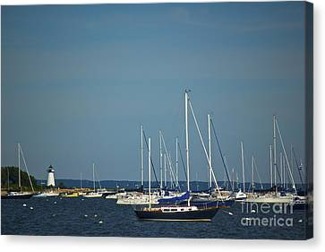 Ned's Point Lighthouse With Sailboats Canvas Print by Amazing Jules