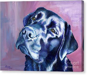 Need Help With That? Black Lab Canvas Print by Amy Reges