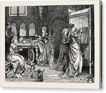 Needlework In The Olden Time Ladies At Tapestry Work Canvas Print by English School