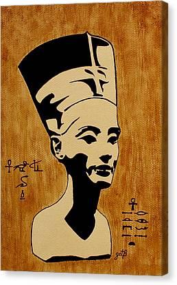 Pharaoh Canvas Print - Nefertiti Egyptian Queen Original Coffee Painting by Georgeta  Blanaru