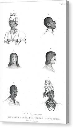 Negro And Indian Heads Canvas Print by British Library