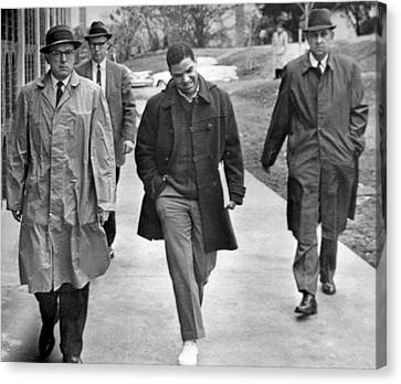 Negro Escorted To College Canvas Print by Underwood Archives