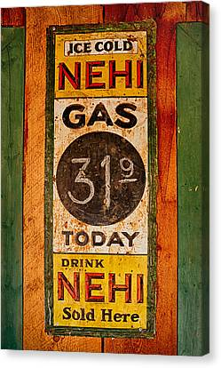 Nehi And Gas Sold Here Canvas Print by Priscilla Burgers