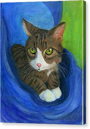 Canvas Print featuring the painting Neighbor's Cat In Stroller by Jeanne Kay Juhos