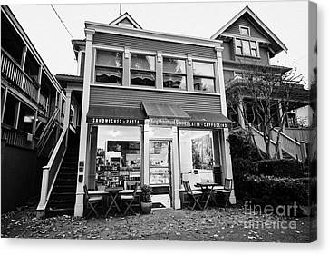neighbourhood grocery and small deli in west end Vancouver BC Canada Canvas Print by Joe Fox