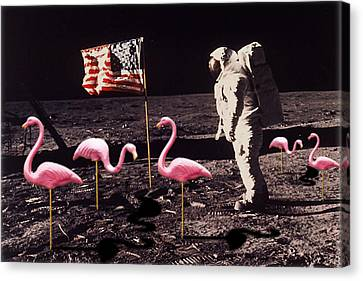 Neil Armstrong And Flamingos On The Moon Canvas Print by Tony Rubino