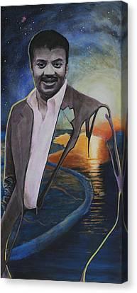 Neil Degrasse Tyson- Shore Of The Cosmic Ocean Canvas Print by Simon Kregar
