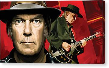 Neil Young Artwork Canvas Print by Sheraz A