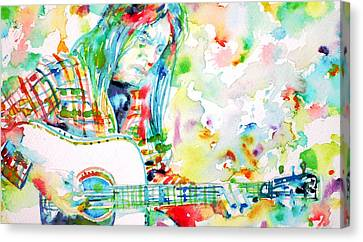 Neil Young Playing The Guitar - Watercolor Portrait.1 Canvas Print by Fabrizio Cassetta