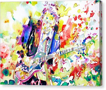 Neil Young Playing The Guitar - Watercolor Portrait.2 Canvas Print by Fabrizio Cassetta