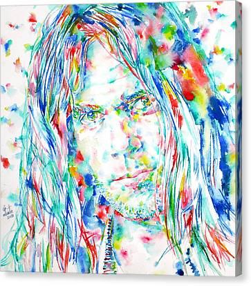 Neil Young - Watercolor Portrait Canvas Print by Fabrizio Cassetta