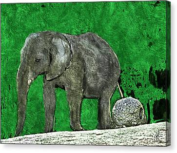 Canvas Print featuring the digital art Nelly The Elephant by Pennie  McCracken