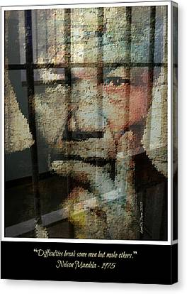Nelson Mandela - Difficulties Canvas Print by Lynda Payton