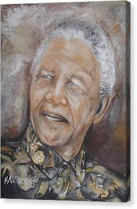 Nelson Mandela Canvas Print by Grant Netherlands