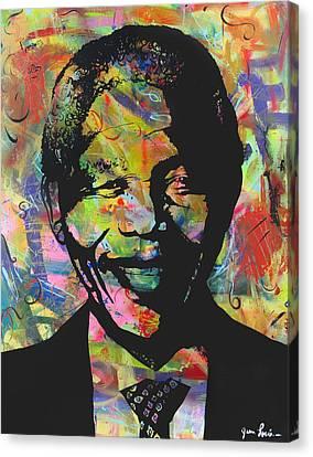 Nelson Mandela Canvas Print by Jean P Losier