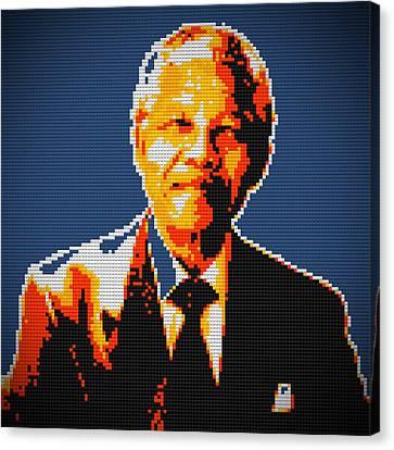 Nelson Mandela Lego Pop Art Canvas Print by Georgeta Blanaru