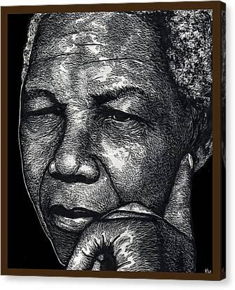 Racism Canvas Print - Nelson Mandela Portrait by Ricardo Levins Morales