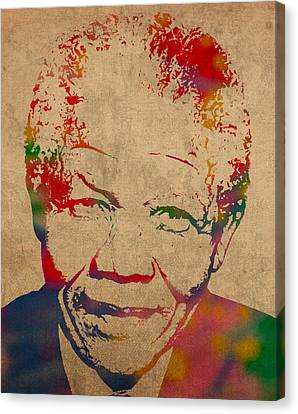 Portraits On Canvas Print - Nelson Mandela Watercolor Portrait On Worn Distressed Canvas by Design Turnpike