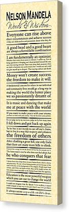 Nelson Mandela Words And Wisdom - Vertical Canvas Print