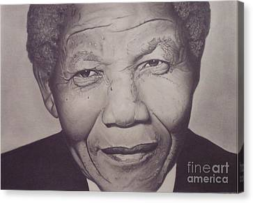 Canvas Print featuring the drawing Nelson Mandela by Wil Golden