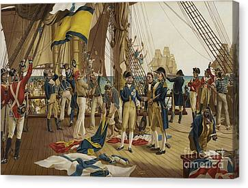 Nelsons Last Signal At Trafalgar Canvas Print by English School