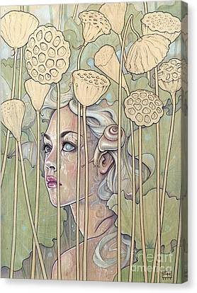 Nelumbo Canvas Print by Fay Helfer