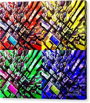 Colorful Sky Canvas Print - Neo Pop Art Urbanscape New York Sky View by Mona Edulesco