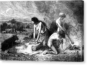 Neolithic Family Making Bread Canvas Print
