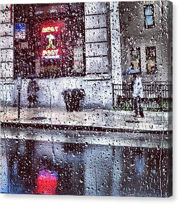 Neon And Rain Canvas Print by Toni Martsoukos