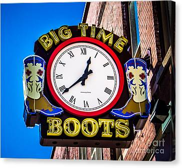 Nashville Tennessee Canvas Print - Neon Boots by Perry Webster