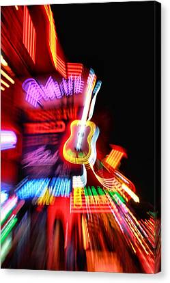 Neon Burst In Downtown Nashville Canvas Print by Dan Sproul