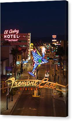 Neon Casino Signs Lit Up At Dusk, El Canvas Print by Panoramic Images