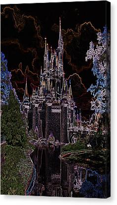 Neon Castle Canvas Print by Eric Liller