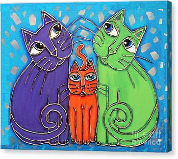 Neon Cat Trio #1 Canvas Print by Cynthia Snyder