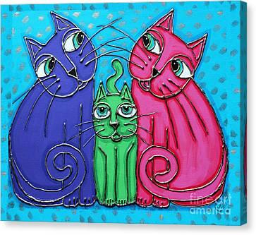 Neon Cat Trio #2 Canvas Print