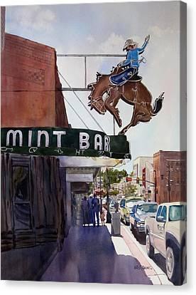 Neon Cowboy Canvas Print by Kris Parins